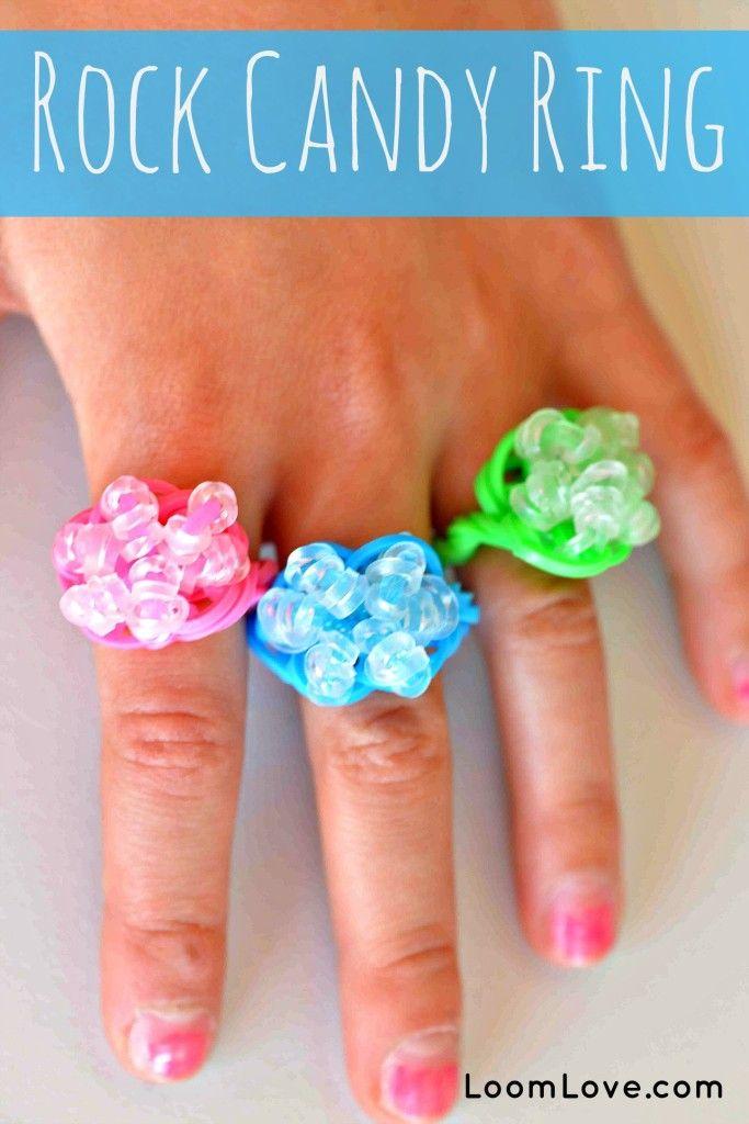 How to make a Rainbow Loom Rock Candy Ring #rainbowloom