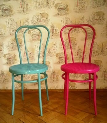 colorful bentwood chairs. I have one of these that I got at a garage sale.  Painting it a bright color is an awesome idea