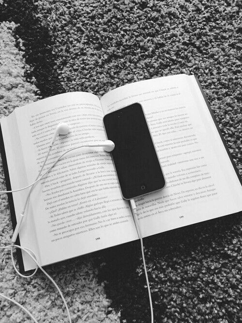 black and white, book, headphones, hipster, iphone, read ...