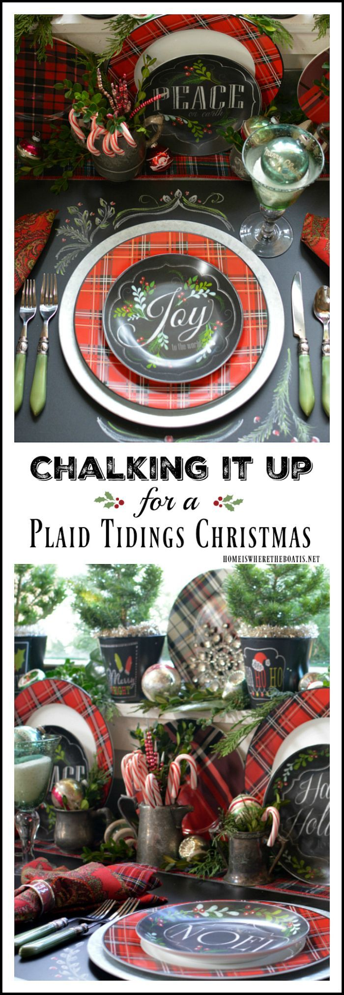 Plaid monograms natural wood ornaments feathers and i couldn t - Plaid Tidings Christmas Table With Fresh Greenery Vintage Ornaments And Chalkboard Runner Homeiswheretheboatis