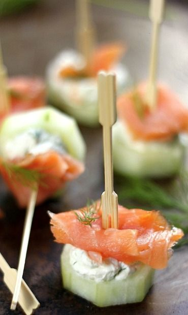 Smoked Salmon and Cream Cheese Cucumber Bites ~~~ one of my very most favorite! YUMMM!!!                                                                                                                                                                                 More