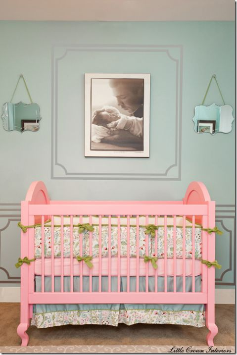 love the pink crib!Wall Colors, Girls Room, Baby Girls, Baby Room, Pink Crib, Cribs, Painting Frames, Girls Nurseries, Baby Nurseries