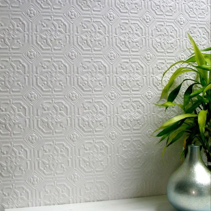 Tiled / Ceiling / Wall / Pressed Metal Effect Wallpaper - Paintable - DERBY in Home & Garden, Building Materials, DIY, Wallpaper | eBay