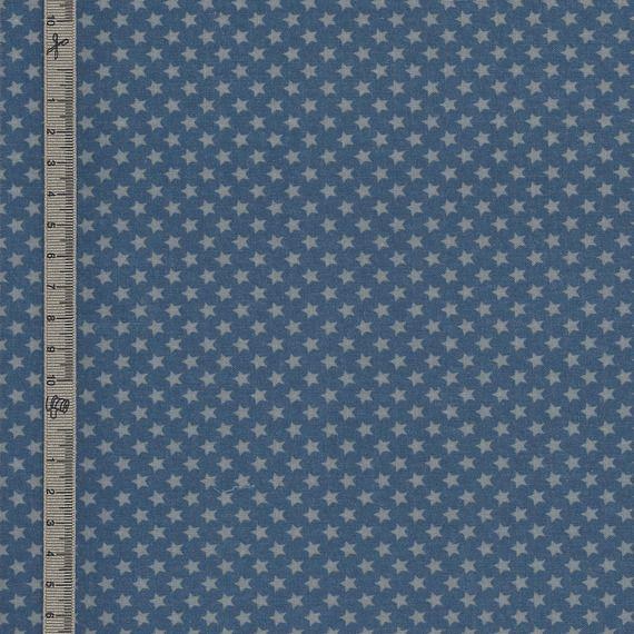 Toile de coton enduit-cirée petites étoiles grises sur fond bleu