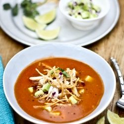 Chipotle tomato soup from Meals in Heels cookbook with shreds of ...