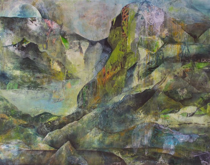 Mixed media painting by Jackie Gray.  Semi abstract landscape in greens and blue.