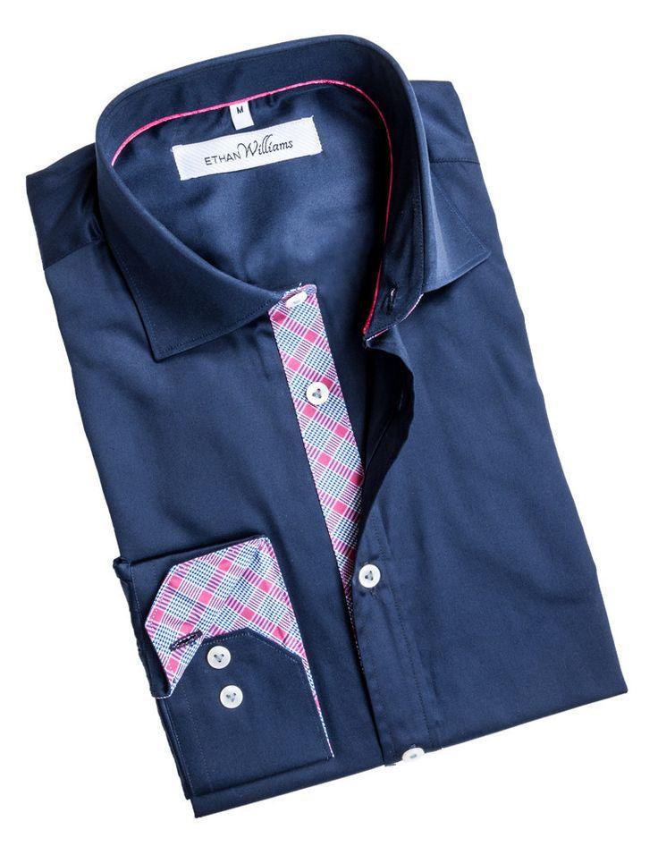 Ethan Williams Navy dress shirt with pink and light blue details - Juliette