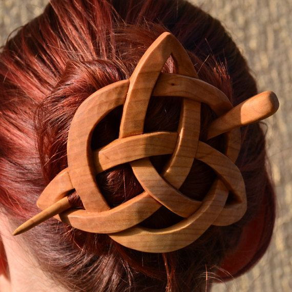Womens Gift, Wife Gift, Gift for Her, Mom, Hair Stick, Wood Carving, Hair Barrette, Haarstab, Hair Pin, Slide, Celtic knot, Triquetra