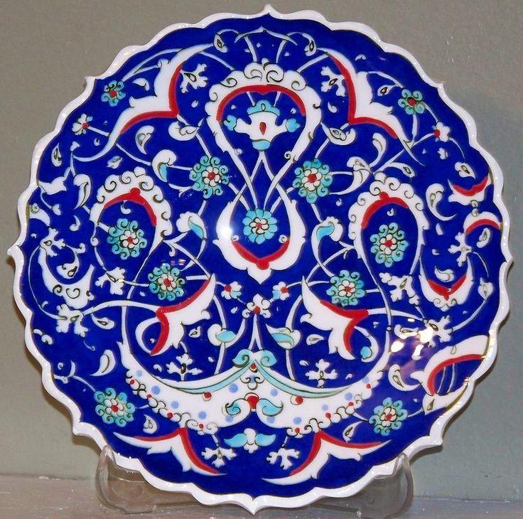 "Turkish Blue 7"" Handmade Iznik Geometric & Carnation Design Ceramic Plate in Pottery & Glass, Pottery & China, Art Pottery   eBay"