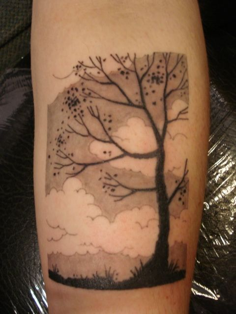 trees and clouds black and gray tattoo - reminds me of jess