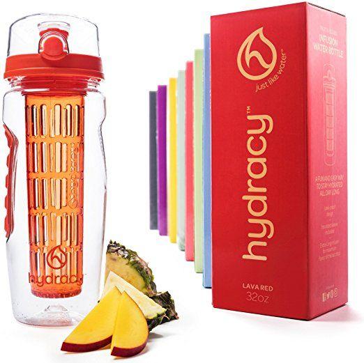 Botella Hydracy infusor de agua con infusión de cuerpo entero Rod y aislante de la manga Set Combo + 25 Fruta Agua Recetas de libros electrónicos regalo infundido - botella grande 32 Oz Sport - lava roja