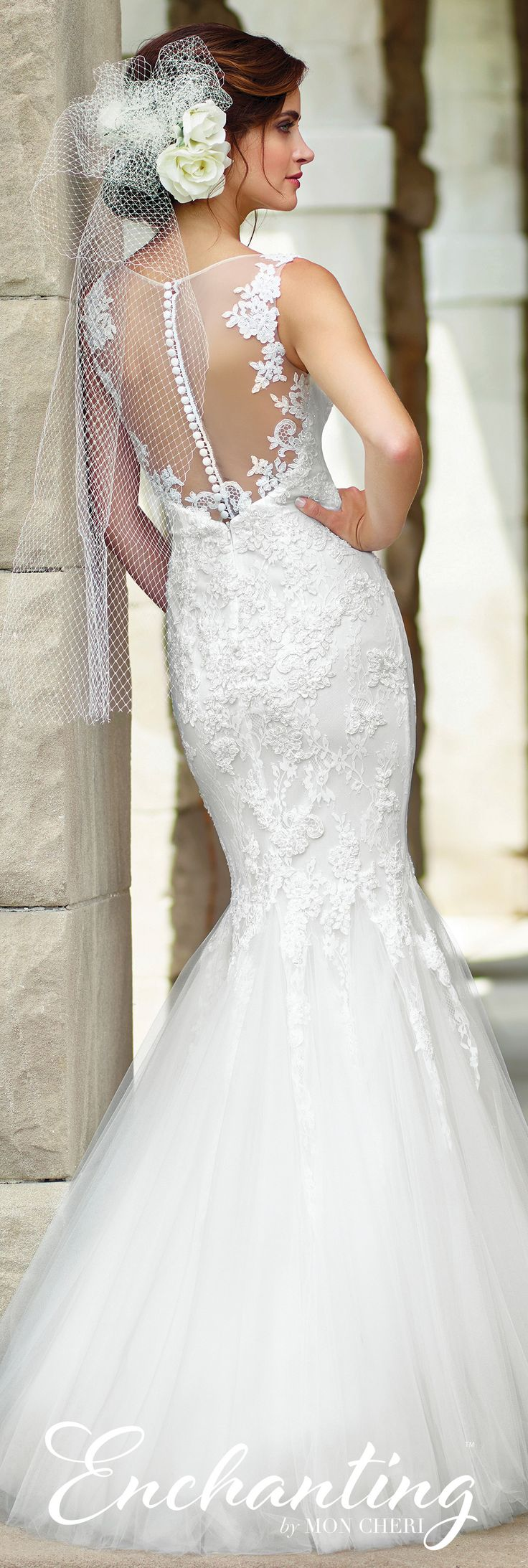 Enchanting by Mon Cheri Spring 2017 Wedding Gown Collection - Style No. 117182 - sleeveless tulle and lace fit and flare mermaid wedding dress with illusion lace back