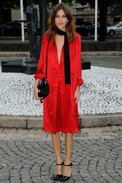 Alexa Chung in red outfit