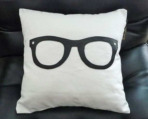 Decorative Pillows For College : Geek Pillow, Black Glasses Pillow, Unique Pillows, Birthday Gift, College Dorm Decor, Children ...