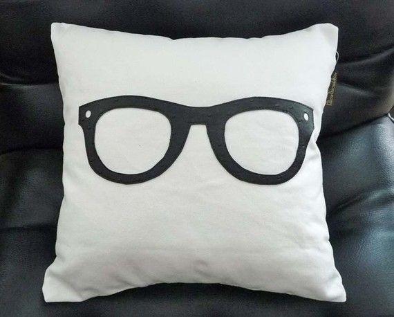Geek Pillow, Black Glasses Pillow, Unique Pillows, Birthday Gift, College Dorm Decor, Children ...