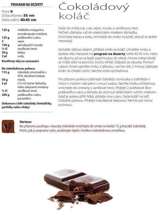 Čokoládový koláč recept, Tefal Miltufunkční hrnec 8v1 RK302