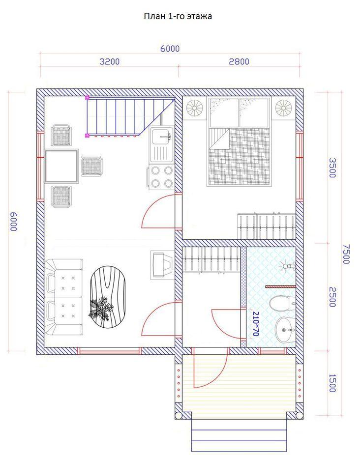 Дачный дом из бруса 6х6 (Проект ДБ-11)