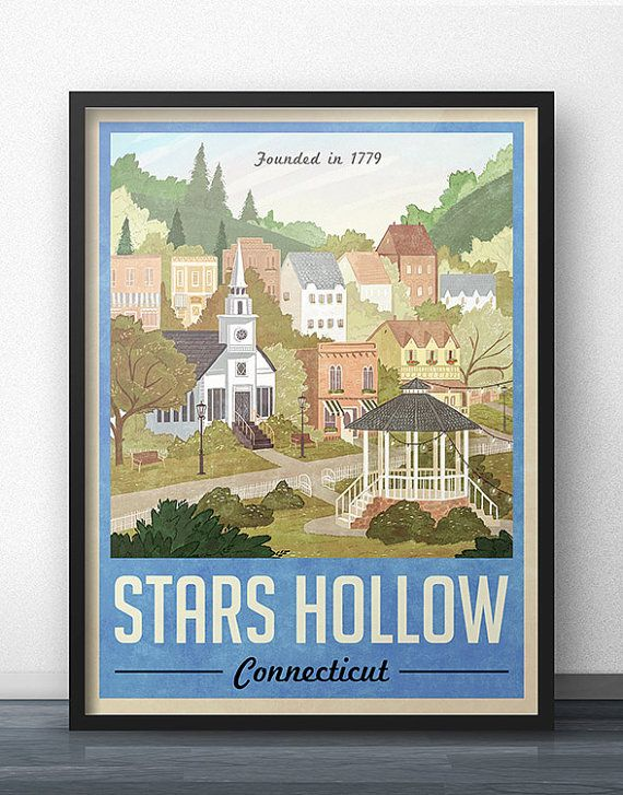 I am a HUGE Gilmore Girls fan and I created this poster as a discreet way to show my love for the fictional town of Stars Hollow, Connecticut. To a normal person, this might look like a cool vintage travel poster from yesteryear, however a TRUE Gilmore Girls fan will appreciate your love and dedication to keeping Stars Hollow alive even years after the series finale! Even though Ive never lived in Stars Hollow, this poster feels like home to me, and I hope it feels that way to you (or your…