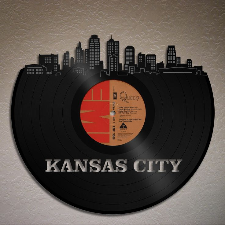 Kansas City Skyline, Kansas Cityscape, Wall Decor Decal, Bedroom Wall Decor, Living Room Wall Art, Personalized VInyl Record Art, Music Art by VinylShopUS on Etsy