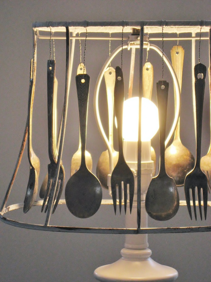 Amazing cutlery lampshade by Four Corners Design