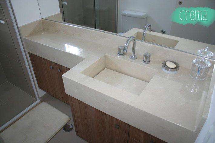 Bancada da pia do banheiro com Granito Crema Marfin