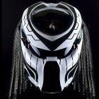 Custom Alien Predator Motorcycle Dot Approved Helmet black And White