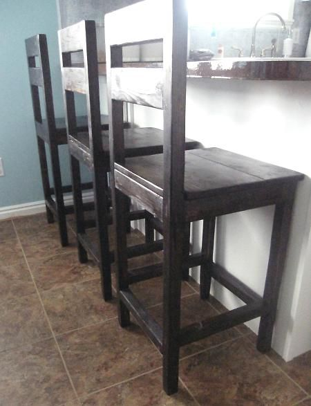 Tutorial on how to make these stools, and a farmhouse table.  She seaside she only spent $220 on all the materials!