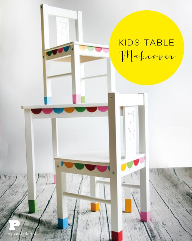 Kids table makeover with tutorial by Pysselbolaget