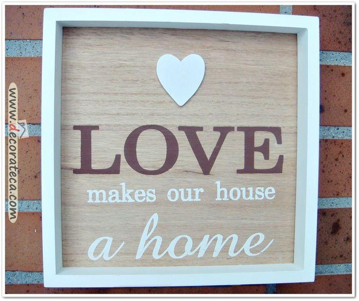 Cuadro de madera love el amor hace de nuestra casa un - Casas de madera nordicas ...