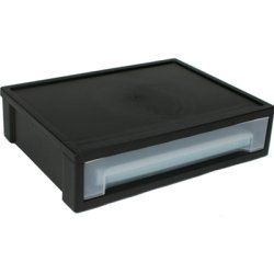 """IRIS® Letter Size Stacking Drawer by IRIS ® USA Inc. $12.99. This slim stacking drawer is sized to fit on your desk or table top. Great for organizing paper, mail, bills and more. Fits 8.5"""" x 11"""" paper. Stack multiple units using the stacking clip molded in the bottom of the product. This item also includes 4 rubber feet to keep it in place."""