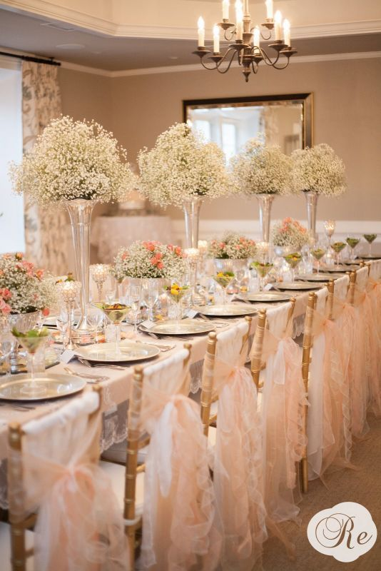 Baby's Breath and Crystals :  wedding babys breath blush chair sashes flowers inspiration lace pdestal vase peach pewter reception roses trumpet vases vintage