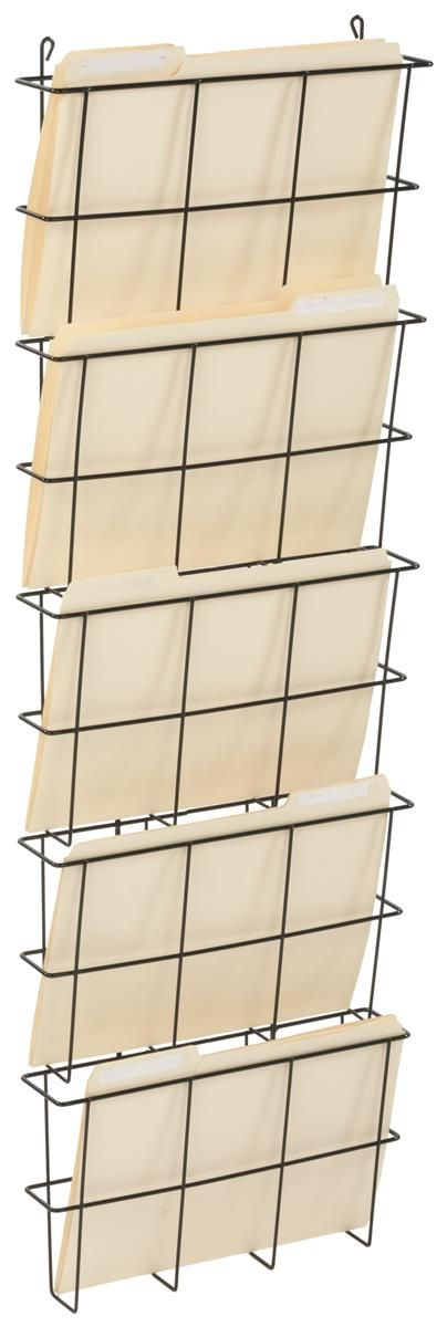 """13""""w x 9.5""""h File Holders for Letter Size Folders, Steel Wire, Wall Mounting – Black"""