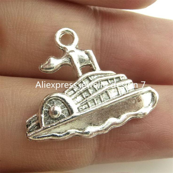 ( 25 pieces / lot ) 14831 сплав античное серебро винтажный корабль лодка парусный спорт круизы кулон