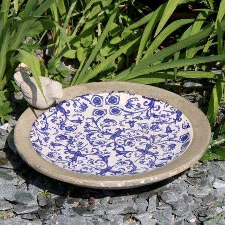 Grande vasque abreuvoir bain d'oiseau en terre cuite émaillée - Diametre: 32 cm - poids 2,3 kg.