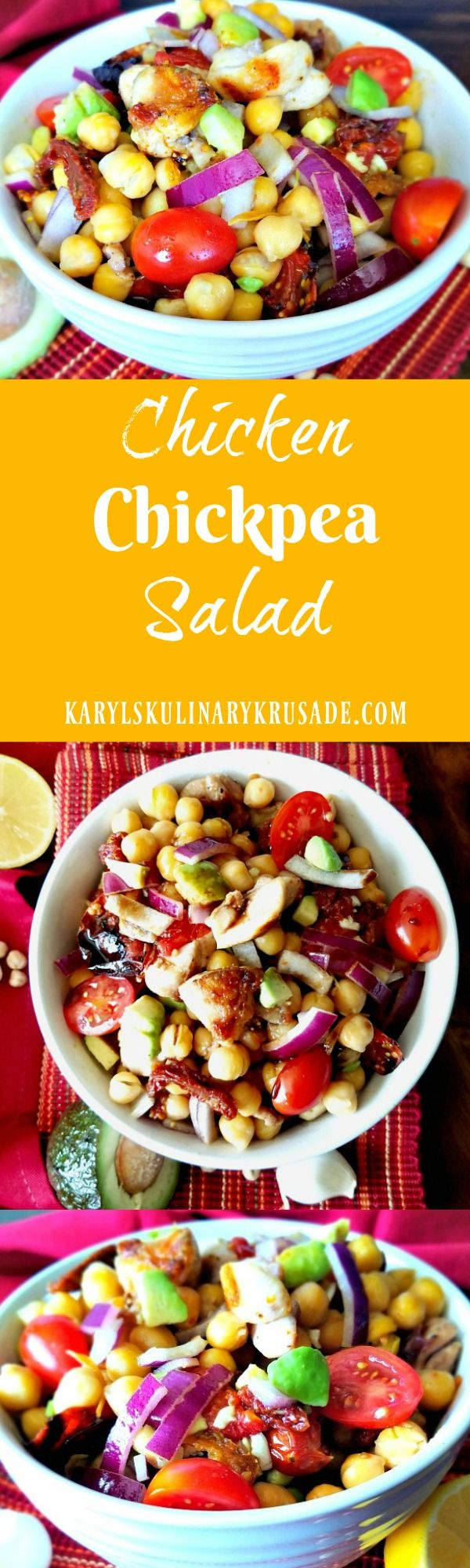 Chicken and chickpeas come together to make a delicious salad. A trio of tomatoes (roasted, raw, and sundried) add wonderful flavor. A rich, thick balsamic vinegar is the finishing touch that will keep you coming back for more.