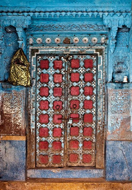 Colorful door to match a colorful culture in Jodhpur, India. Doors of the world. Travel. India. Asia.