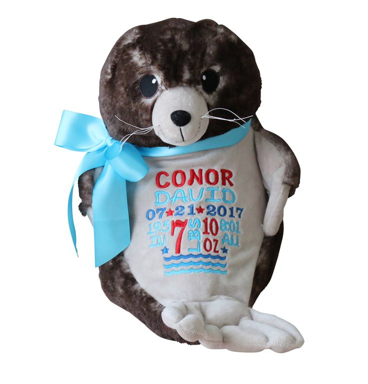 45 best embroider buddy personalized stuffed animals images on personalized cecil sea lion stuffed animal custom embroidery birth announcement baby gift negle Choice Image