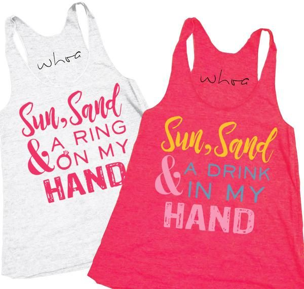 Sun, Sand & a Ring on My Hand / Drink in My Hand Tank, XS-2XL, Bachelorette Tank, Bachelorette Party.