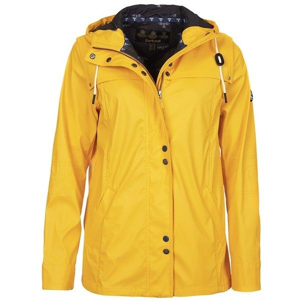 Women's Barbour Hackamore Parka - Yellow (£160) ❤ liked on Polyvore featuring outerwear, coats, barbour coats, yellow raincoat, yellow rain coat, barbour raincoat and barbour