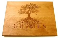 Personalised Family Name Chopping Boards.  Solid American Cherry. 300 X 270 X 40 Unique gift for all occasions