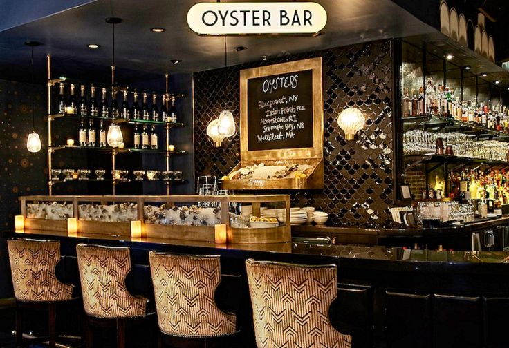 The Roxy Oyster Bar – Restaurants Retail/Commercial Tile  Mercury Mosaics Black Moroccan Fish Scales