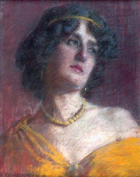 Feliks Michał WYGRZYWALSKI (1875 - 1944)  Złoty naszyjnik pastel, papier, 44,5 x 35 cm; sygn. l. d.: F. M. Wygrzywalski