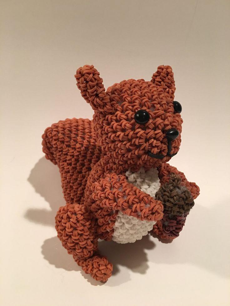 Squirrel Rubber Band Figure, Rainbow Loom Loomigurumi, Rainbow Loom Animal by BBLNCreations on Etsy  Loomigurumi Amigurumi Rainbow Loom