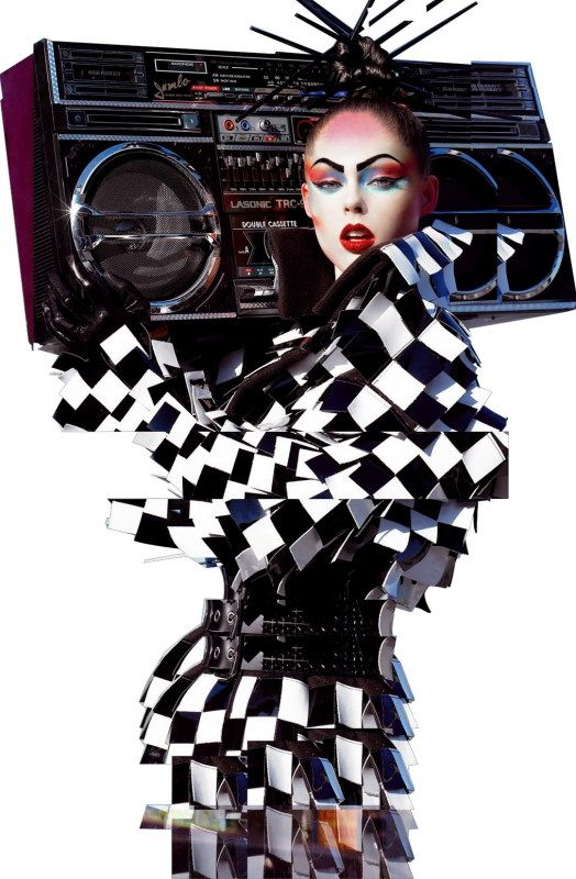 Photographed by Steven Meisel for Vogue Italia, a Lasonic TRC-975 is the perfect accessory for this avant garde dress. Who created the TRC-975?