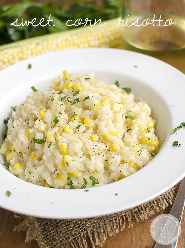 Sweet Corn Risotto is a celebration of summer. Creamy and decadent yet light and perfect for warm evenings. | iowagirleats.com
