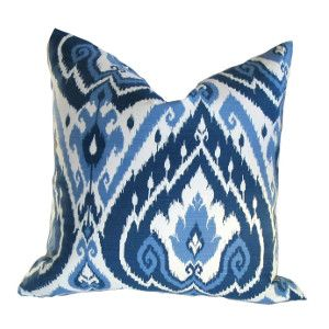 Add a pop of color with this quality Kravet Galata Blue Pillow Cover. Cool, Crisp Blue and White Ikat design. 100% Cotton