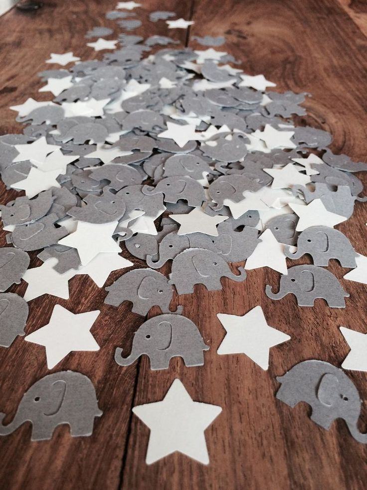 150 Grey Elephant U0026 Stars CONFETTI | Baby Shower/Christening/Birthday
