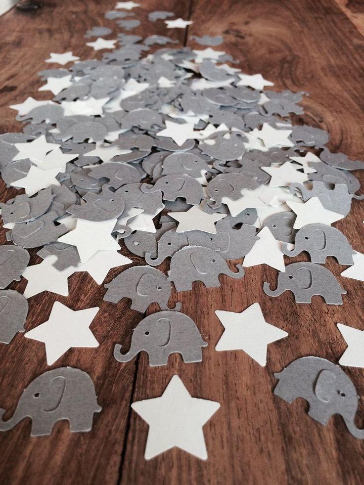 200 Grey Elephant & Stars CONFETTI | Baby Shower/Christening/Birthday | eBay