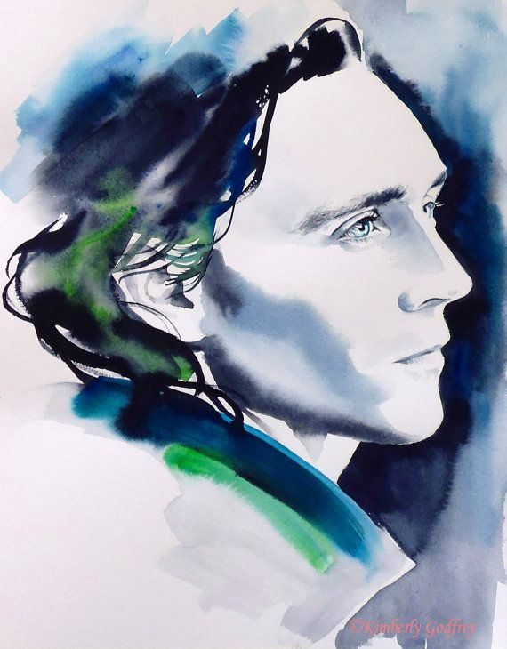 Loki Tom Hiddleston Original Watercolour Painting Portrait Thor Dark Blue Teal Indigo Fine Art Profile Artist: Kimberly Godfrey. This artist has some incredible work. Go support her.