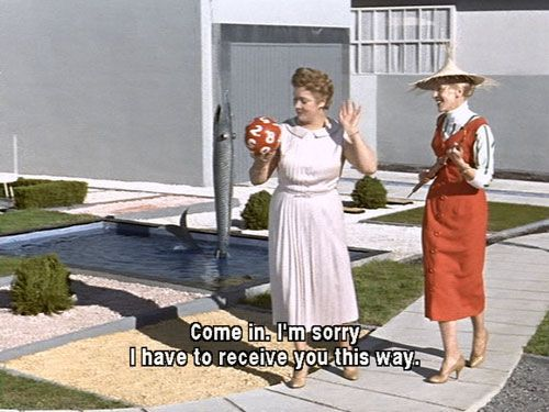 """the quintessential mid-century modern garden can be found in the Jacques Tati film, Mon Oncle"" #mcm #midcenturymodern #landscaping #walkway #yard #frontyard"